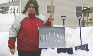 Dig it: Putre and her EZ Throw Snow Shovel.