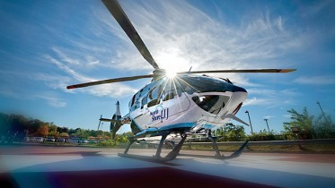 Cool pad: Bay Shore's Southside Hospital now has reserved parking for the SkyHealth helicopter and other emergency whirlybirds.
