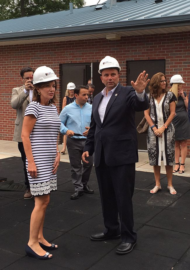 Lt. Gov. Hochul (left) tours the Long Island LBGT Network community center construction site.